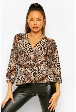 Tan brown Mixed Animal Print Wrap Front Blouse