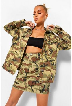 Khaki Camo Denim Raw Hem High Waist Mini Skirt