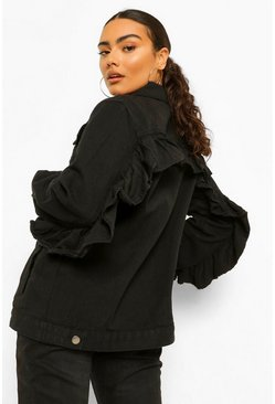 Black Oversized Frill Denim Jacket