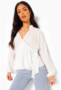Ivory white Wrap Front Tie Side Blouse