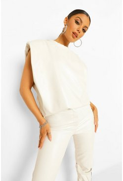 White Pu Shoulder Pad Top