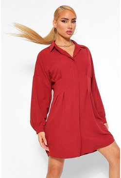 Rose pink Contour Waist Woven Shirt Dress