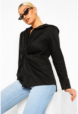 Black Knot Front Cotton Blouse