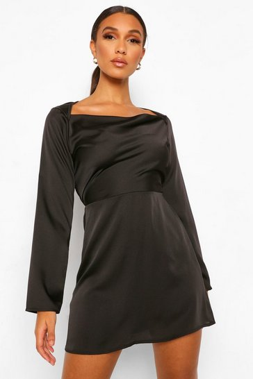 Black Square Cowl Neck Satin Slip Dress