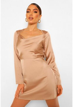Nude Square Cowl Neck Satin Slip Dress
