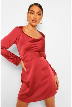 Rose pink Square Cowl Neck Satin Slip Dress