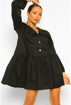 Black Oversized Collar Button Front Smock Dress