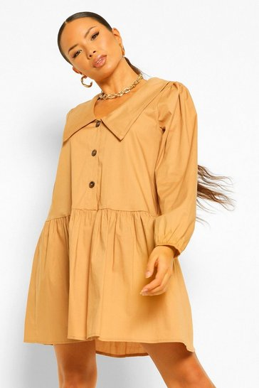 Sand beige Oversized Collar Button Front Smock Dress
