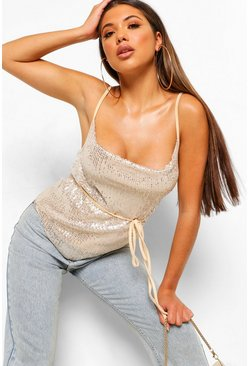 Silver Sequin Cowl Neck Cami Top