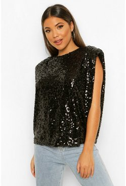 Black Sequin Shoulder Pad Top