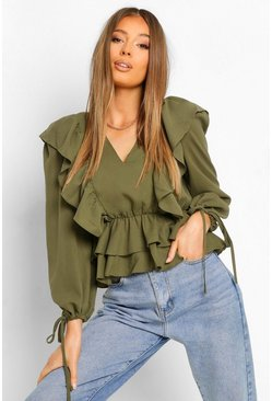 Khaki Geweven Peplum Top Met Ruches