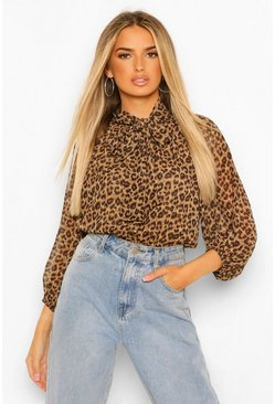 Brown Leopard Pussy Bow Peplum Blouse