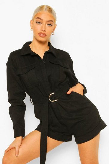 Black Denim Twill Utility Belted Playsuit