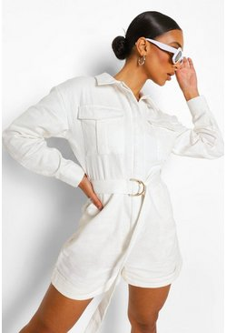 Ecru white Denim Keperstof Utility Playsuit Met Ceintuur