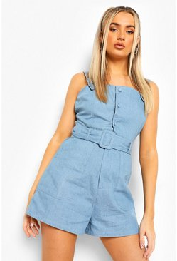 Mid blue blue Denim Buckle Belted Pinafore Playsuit