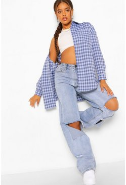 Oversized Checked Shirt, Blue azzurro