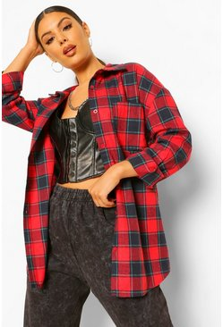 Oversized Checked Shirt, Berry rosso
