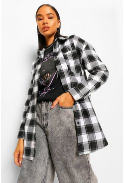 Oversized Checked Shirt, Black schwarz