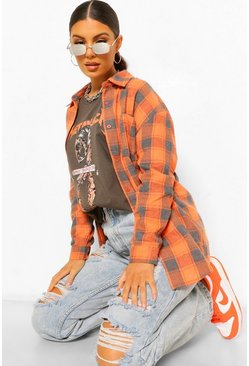 Orange Oversized Checked Shirt
