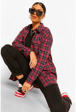 Oversized Checked Shirt, Berry rouge