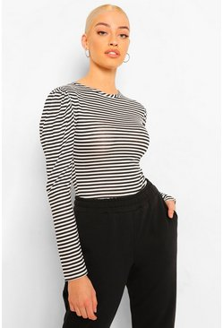 Stripe Puff Sleeve Long Top, Black noir