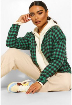 Green Oversized Checked Shirt