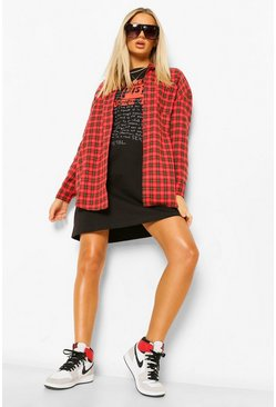 Oversized Checked Shirt, Red rosso