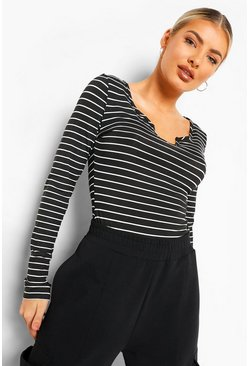 Black Notch Front Stripe Long Sleeve Top
