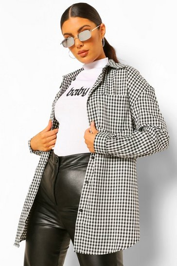 Black Oversized Checked Shirt