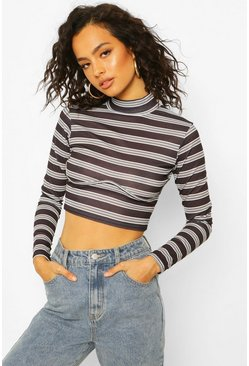 Stripe Rib Seam Detail High Neck Crop, Black noir