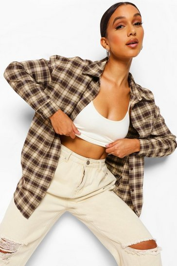 Brown Oversized Checked Shirt