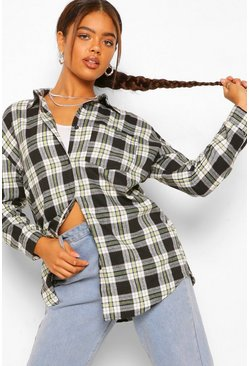 Oversized Checked Shirt, Black nero