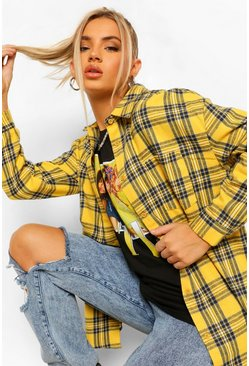 Oversized Checked Shirt, Mustard jaune