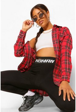 Oversized Checked Shirt, Red rouge