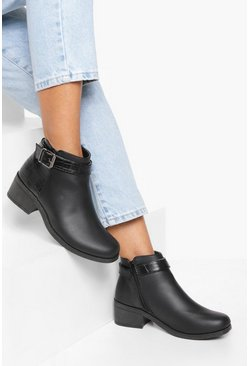 Black Buckle Detail Chelsea Boots