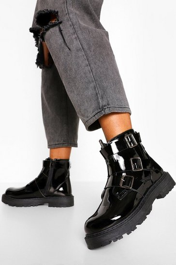 Black Wide Fit Triple Buckle Biker Boots