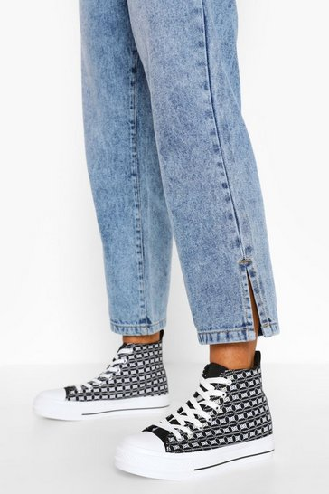 Black Repeat Print Canvas High Top Trainers