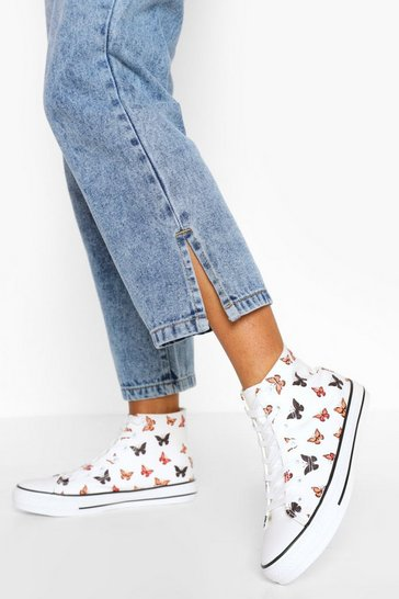 White Butterfly Print Canvas High Top Trainers