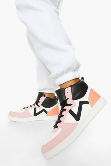 Pink Colourblock High Top Lace Up Trainers