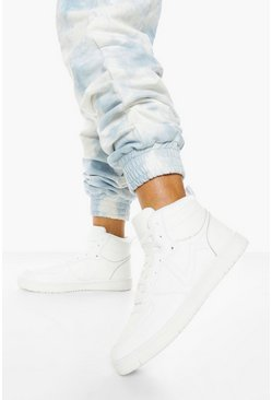 White vit High Top Lace Up Trainers