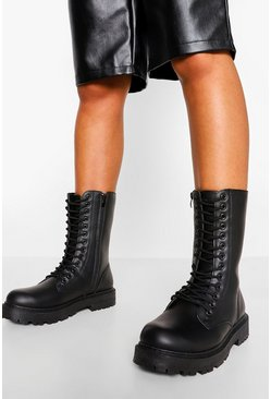 Black Wide Fit Calf High Chunky Hiker Boots