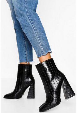 Black Croc Square Toe Flare Heel Shoe Boots