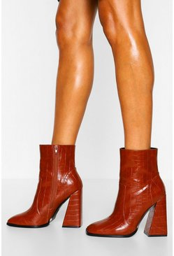 Brown Croc Square Toe Flare Heel Shoe Boots