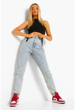 Vintage blue blue Acid Wash Denim Jogger