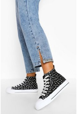 Black Star Print Canvas High Top Trainers