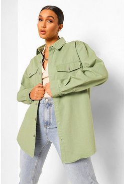 Khaki Denim Twill Shacket