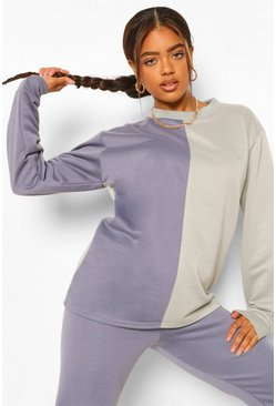 Petrol grey Colourblock Oversized Sweatshirt