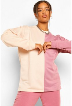 Rose pink Colourblock Oversized Sweatshirt