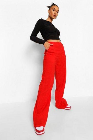 Red Textured Pocket Detail Wide Leg Trouser