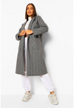 Black Herringbone Tailored Boyfriend Coat